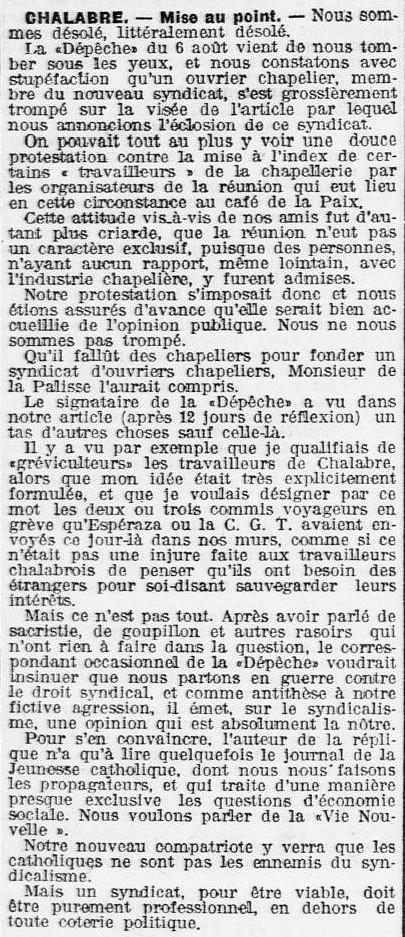 1909 L'Eclair 9 août Syndicat CGT.jpg