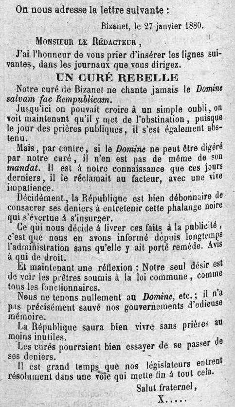 1880 1er février La Fraternité le Curé rebelle.jpg